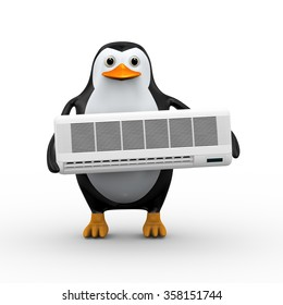 3d illustration of cute penguin holding conditioner split unit