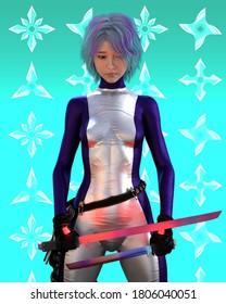 3D Illustration Cute Sad women with Japanese Swords