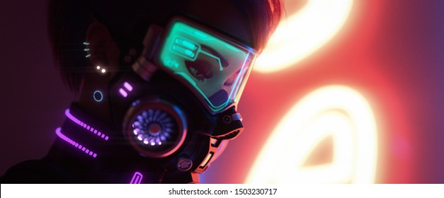 3d illustration of a cyberpunk girl in futuristic gas mask with green glasses in stylish jacket with purple el wire standing near yellow neon light sign on night street with air pollution. Concept art