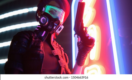 3d illustration of a cyberpunk girl in futuristic gas mask with green glasses in jacket with purple el wire holding a gun in one hand standing near neon light sign on night street with air pollution.