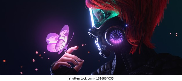3d illustration of a cyberpunk girl in futuristic gas mask with protective green glasses and filters in jacket looking at the glowing butterfly landed on her finger in a night scene with air pollution