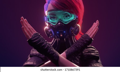 3d illustration of cyberpunk girl with short red hair wearing futuristic gas mask with protective green glasses and filters in leather jacket with crossed hands, gesturing stop, warning of danger.