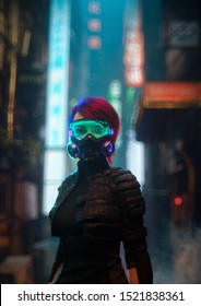 3d illustration of a cyberpunk girl wearing futuristic gas mask with filters and green glasses protection from air pollution in stylish leather jacket standing in night city street with shopping malls