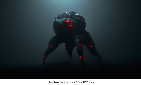 3d illustration of a cyberpunk scary creature with red luminous eyes in a night scene. Silhouette of a futuristic post apocalypse mutant in metal armor. Concept art science fiction alien character