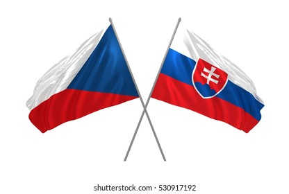 3d illustration of Czech Republic and Slovakia crossed state flags waving
