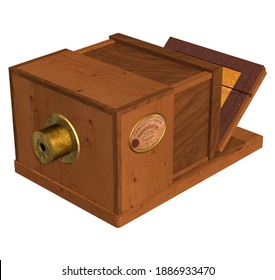 3D Illustration of a Daguerreotype Camera, invented in 1839 by the French Genius Louis-Jacques-Mandé Daguerre; with wooden body, metal components, lens, crystals and capable of capturing images.