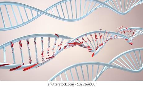 3D Illustration of a damaged ribonucleic acid or dna strand