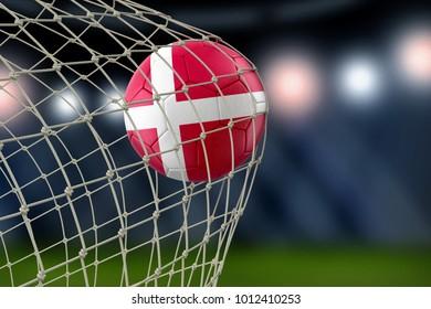 3d illustration. Danish soccerball in net