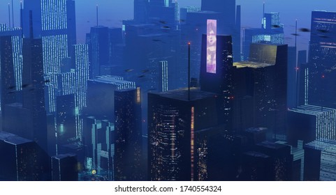 3d illustration of dark blue science fiction dystopian future city with holographic billboards - digital fantasy illustration