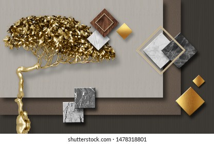 3d illustration, dark decorated background, multi-colored marble rhombuses and squares, golden fairy bonsai