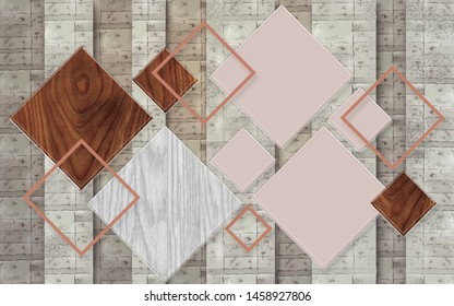3D illustration, dark and light vertical columns, wooden multi-colored rhombuses, pink diamond-shaped frames