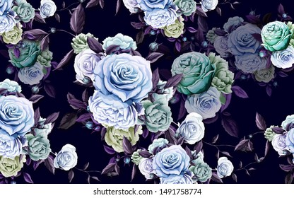 3d illustration, dark purple background, large blue and green roses