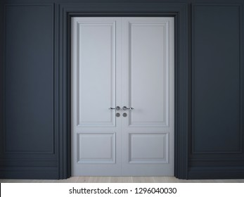 3D illustration. Dark wall with wooden panelling and double doors and oak floor
