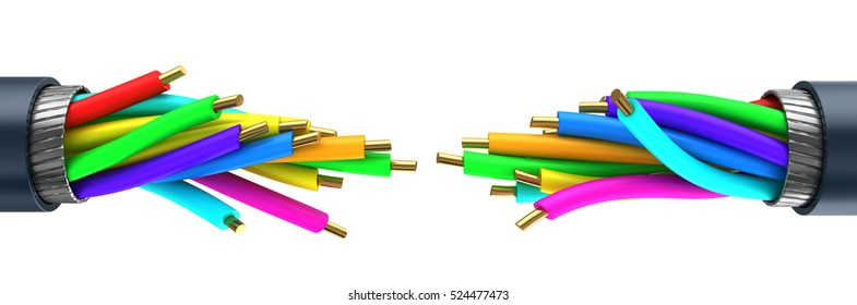 3d illustration of data cable breaked, over white background