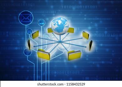 3d illustration of Data sharing concept, Global Data Network