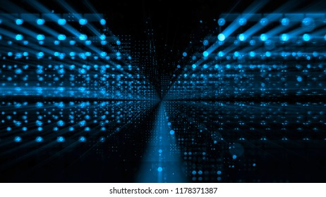 3d illustration. Data storage service. Server room. Modern web network. Internet connection.  Quantum computer system. Blockchain technology. Grid and lines. Hosting domain. Electronic device.