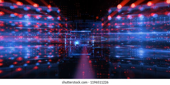 3d illustration. Data storage service. Server room. Modern web network. Internet connection. Hosting. Quantum computer system. Blockchain technology. Grid and lines. Hosting domain. Electronic device.
