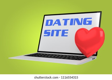 3D illustration of DATING SITE script with red heart placed on the keyboard