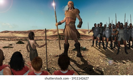 3D Illustration of David and Goliath