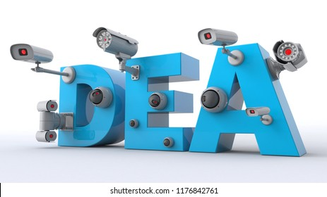 3D illustration of DEA text with CCTV cameras