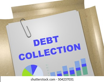 """3D illustration of """"DEBT COLLECTION"""" title on business document"""