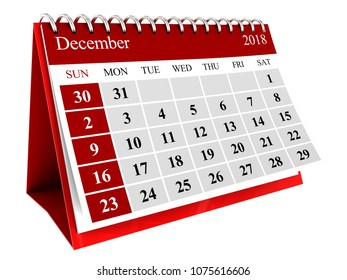 3d illustration of december month calendar isolated over white background