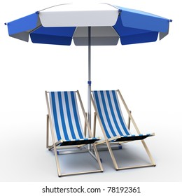 3d illustration of deck chairs with umbrella