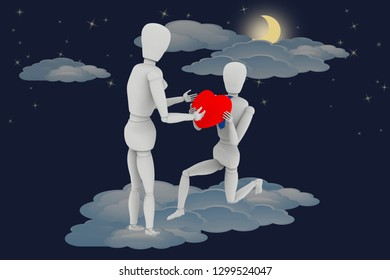 3D illustration.Declaration of love in heaven among the clouds. Boyfriend offers the heart on Valentine's day.