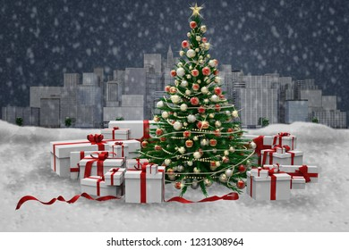 3D illustration. Decorated Christmas tree and gifts during a snowfall, against the backdrop of the city skyline.