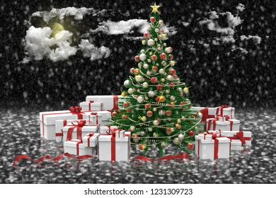 3D illustration. Decorated Christmas tree and gifts during a snowfall