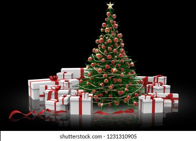 3D illustration. Decorated Christmas tree and gifts on black background