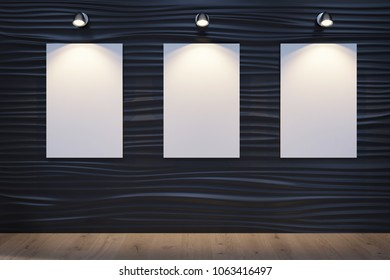 3D illustration of the decorative wall with 3 canvases