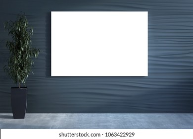 3D illustration of the decorative wall with the plant