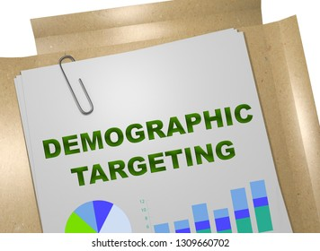 3D illustration of DEMOGRAPHIC TARGETING title on business document