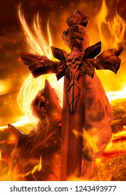 3d illustration of a demon prince with fire hair holding a skull engraved sword on fire hellish background.