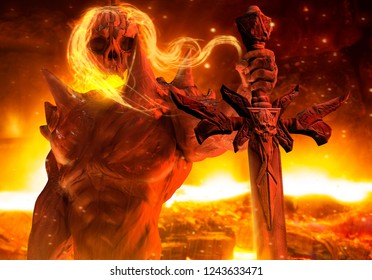 3d illustration of a demon prince with flame hair and skeleton head holding a skull engraved sword horizontal view on hellish background.