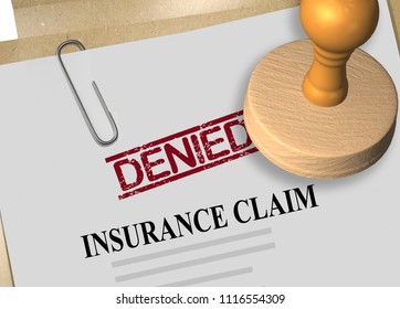 3D illustration of DENIED stamp title on insurance claim document
