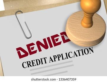 3D illustration of DENIED stamp title on credit application document
