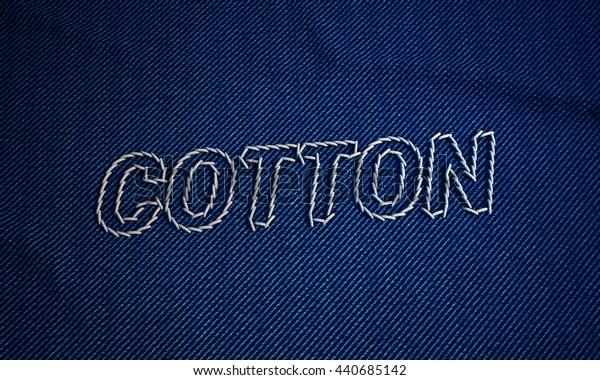 3d illustration denim stitch  word