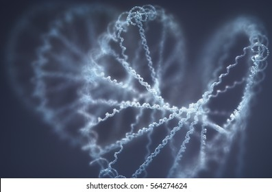 3D illustration. Deoxyribonucleic acid (DNA), molecule that carries the genetic instructions of the development, functioning and reproduction of all living organisms and virus.
