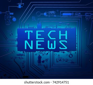 3d Illustration depicting abstract blue printed circuit board components with a tech news concept.
