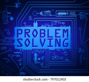 3d illustration depicting abstract printed circuit board components with a problem solving concept.