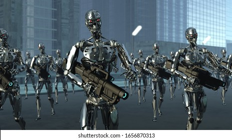 3D illustration depicting army of robots equipped with blasters on the city street