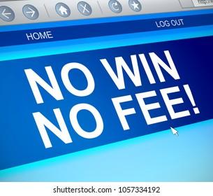 3d Illustration depicting a computer screen capture with a no win no fee concept.
