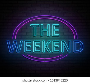 3d Illustration depicting an illuminated neon sign with a weekend concept.