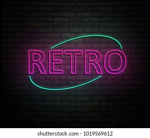 3d Illustration depicting an illuminated neon sign with a retro concept.
