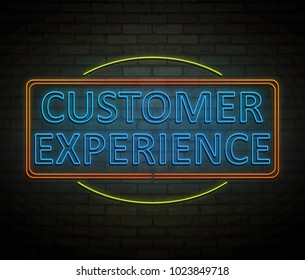 3d Illustration depicting an illuminated neon sign with a customer experience concept.
