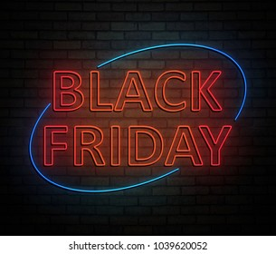 3d Illustration depicting an illuminated neon sign with a black friday concept.