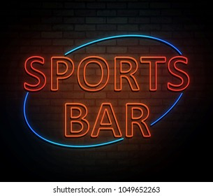 3d Illustration depicting an illuminated neon sign with a sports bar concept.