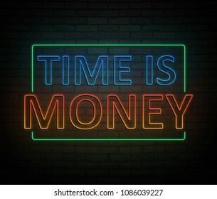3d Illustration depicting an illuminated neon sign with a time is money concept.